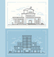 school and hospital - set of thin line design vector image vector image