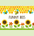 seamless borders grass and funny bees vector image vector image