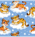 seamless pattern with dreaming tigers at night vector image