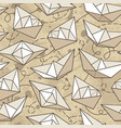 seamless pattern with paper ships vector image vector image