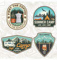 set camping and caravanning club badges vector image vector image