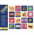 set colorful modern gambling icons casino vector image