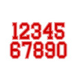 set numbers with red and white typography vector image vector image