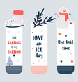 set of bookmarks with winter sports elements vector image