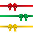 set of festive bows with ribbons of red green and vector image