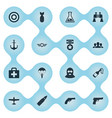 set of simple war icons vector image vector image