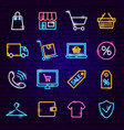 shopping neon icons vector image