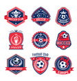 soccer ball shield badge football sport club vector image vector image
