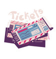 two tickets cartoon event vector image vector image
