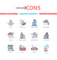 water conditions - line design style icons set vector image