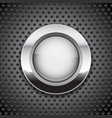 white button on metal perforated background round vector image vector image