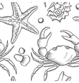 Seamless pattern with starfish and crab vector image