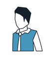 businessman faceless in shirt with tie and half vector image