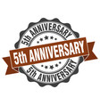 5th anniversary stamp sign seal vector image vector image