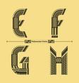 alphabet polynesian style in a set efgh vector image vector image