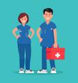ambulance staff couple doctors vector image