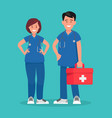 ambulance staff couple of doctors vector image