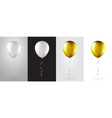 big set white and gold balloons on transparent vector image