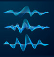 blue sound waves track design set of audio waves vector image