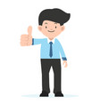 businessman standing with big thumbs up vector image vector image