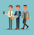 color background full body set of executive men vector image vector image