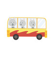 colored kids transport with cute little wolf vector image vector image
