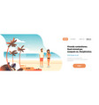 couple sunrise beach tropical palm summer vacation vector image