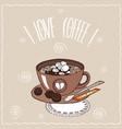 cup of coffee with marshmallow on lacy napkin vector image