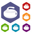 curling stone icons set hexagon vector image vector image