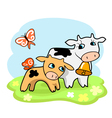 cute cartoon cows vector image vector image