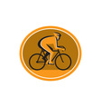 Cyclist Riding Bicycle Cycling Racing Circle Retro vector image vector image