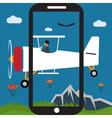 extreme selfie pilot flat design vector image vector image