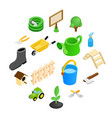 garden isometric 3d icons set vector image vector image