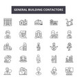 general building contractors line icons signs vector image vector image