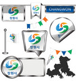 glossy icons with flag of changwon south korea vector image