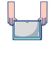 hands with screen tablet technology object vector image vector image