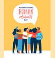 human solidarity card of diverse friend group hug vector image vector image