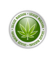 legalize marijuana hemp leaf icon on white vector image vector image