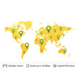 location pins on world map vector image