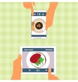Man and woman and their food placed on gadgets vector image vector image