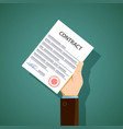 man holding in hand a document contract stock vector image