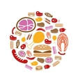 meat icons in circle vector image vector image