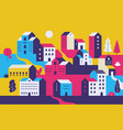 minimal cityscape flat town houses with eco vector image vector image