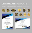modern blue certificate with badge vector image vector image