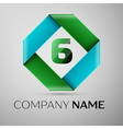 Number six logo symbol in the colorful rhombus vector image vector image