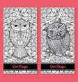 owl birds set isolated with clock face on stomach vector image vector image