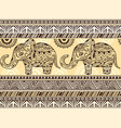 pattern with ethnic patterns and elephant vector image vector image