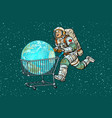 planet earth bought by astronaut shopping cart vector image vector image