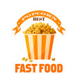 popcorn fast food snack isolated icon vector image vector image