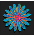 Rainbow flower on black background vector image vector image